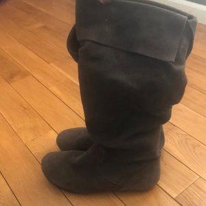 Madden Girl Dark Grey Suede Boots